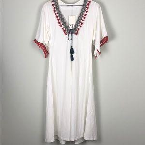 NWT!!! ZARA Contrast Dress With Tassels